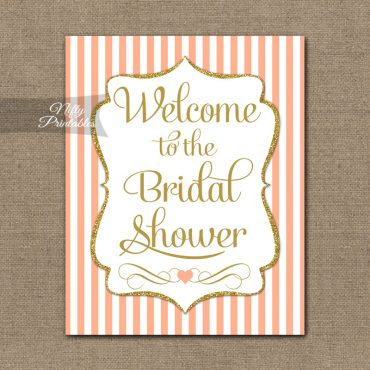 Bridal Shower Welcome Sign - Peach Gold Glitter Stripe
