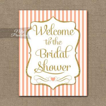 Bridal Shower Welcome Sign - Peach Gold Glitter Stripe