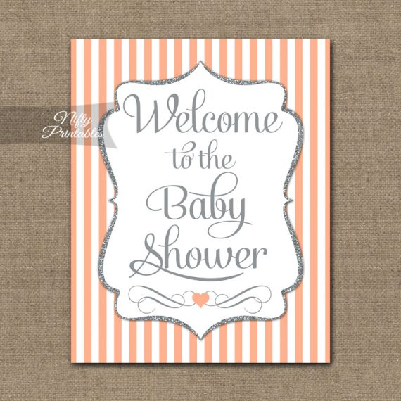 Baby Shower Welcome Sign - Peach Silver Glitter Stripe