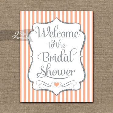 Bridal Shower Welcome Sign - Peach Silver Glitter Stripe