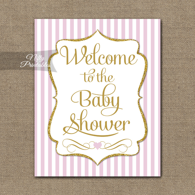 Baby Shower Welcome Sign - Pink Gold Glitter Stripe