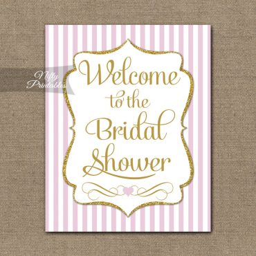 Bridal Shower Welcome Sign - Pink Gold Glitter Stripe