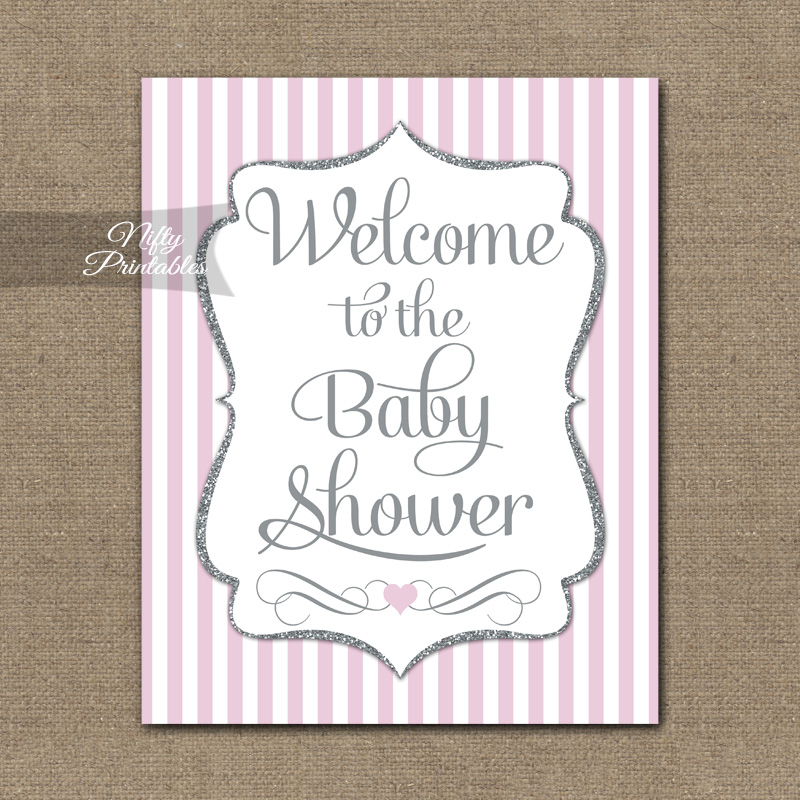 Baby Shower Welcome Sign - Pink Silver Glitter Stripe
