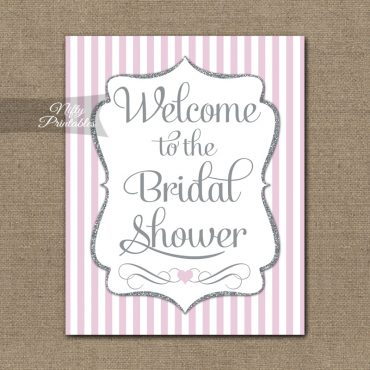 Bridal Shower Welcome Sign - Pink Silver Glitter Stripe