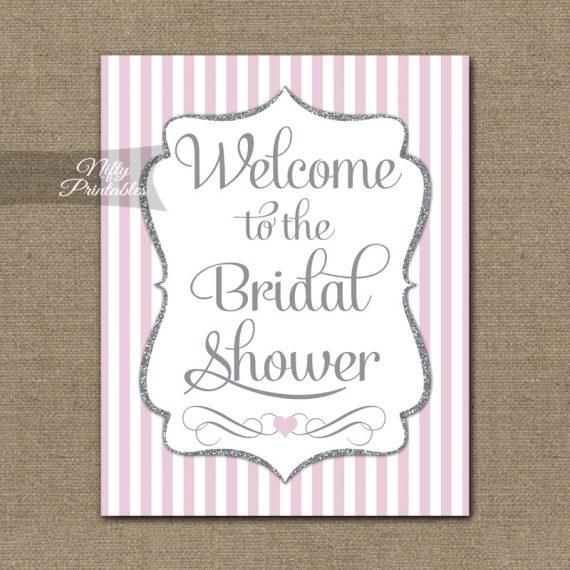 Bridal Shower Welcome Sign - Pink Silver Glitter Stripe
