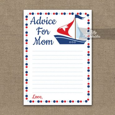 Advice For Mommy Baby Shower Game - Sailboat Nautical