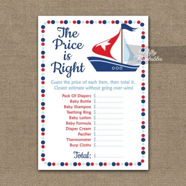 Price Is Right Baby Shower Game - Sailboat Nautical