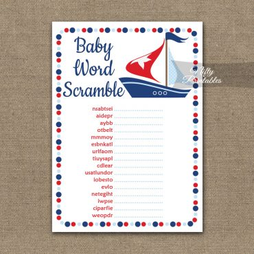 Baby Shower Word Scramble Game - Sailboat Nautical