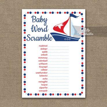 Baby Shower Word Scramble Game - Sailboat Nautical