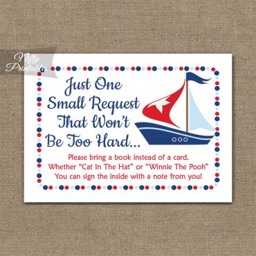 Bring A Book Baby Shower Insert - Sailboat Nautical