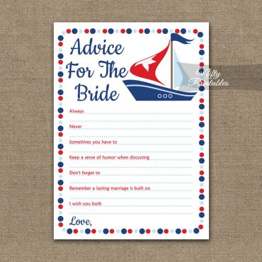 Bridal Shower Advice Cards - Sailboat Nautical