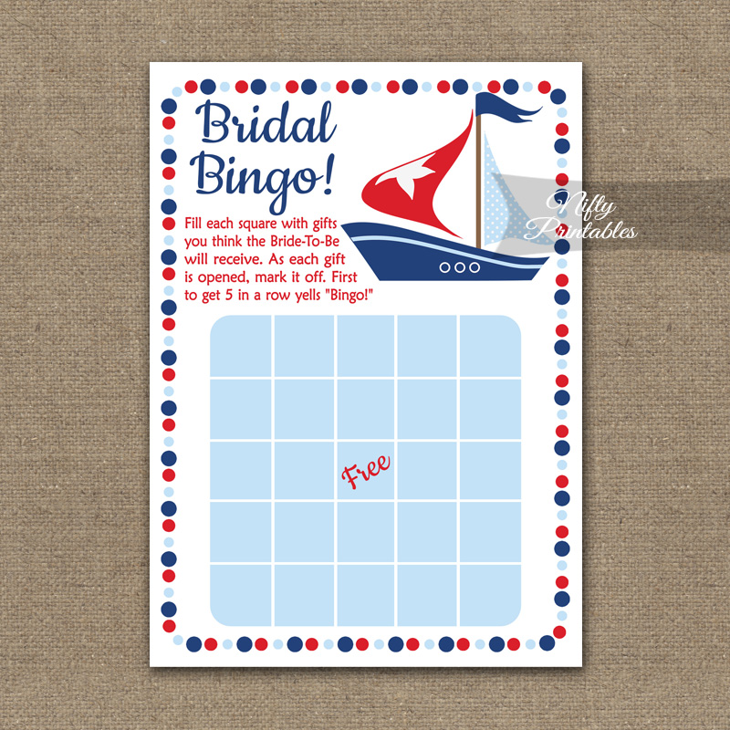 image about Printable Bridal Shower Bingo known as Bridal Shower Bingo Recreation - Sailboat Nautical