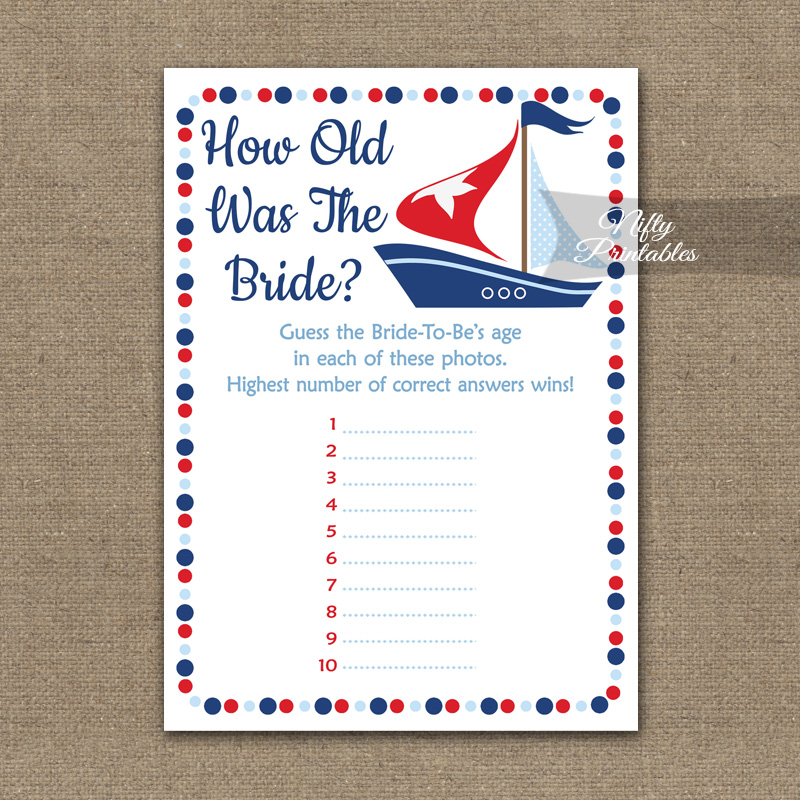 graphic about Sailboat Printable named How Outdated Is The Bride Shower Video game - Sailboat Nautical