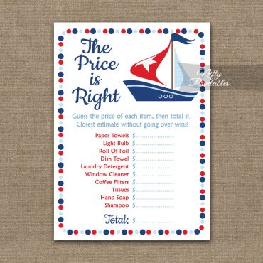 Price Is Right Bridal Shower Game - Sailboat Nautical