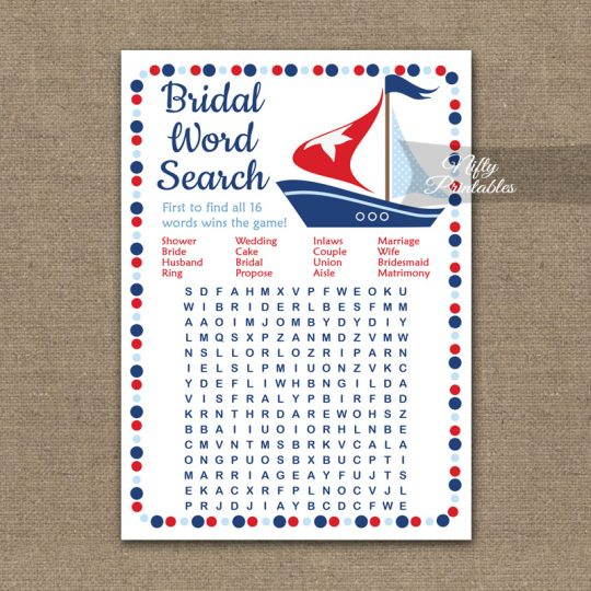 Bridal Shower Word Search Game - Sailboat Nautical