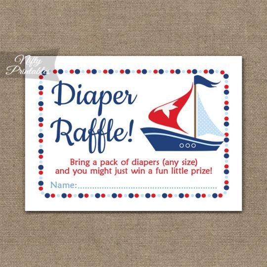 Diaper Raffle Baby Shower - Sailboat Nautical