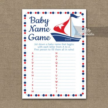 Name Game Baby Shower - Sailboat Nautical