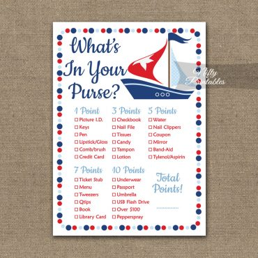 What's In Your Purse Game - Sailboat Nautical