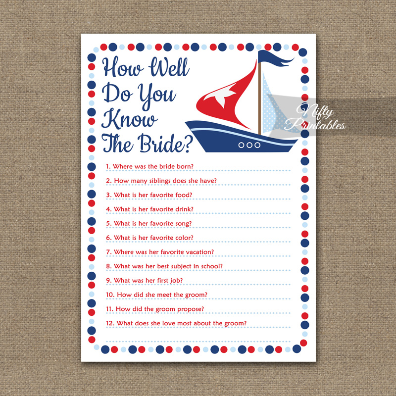 photograph relating to How Well Do You Know the Bride Printable identify How Very well Do On your own Comprehend The Bride - Sailboat Nautical