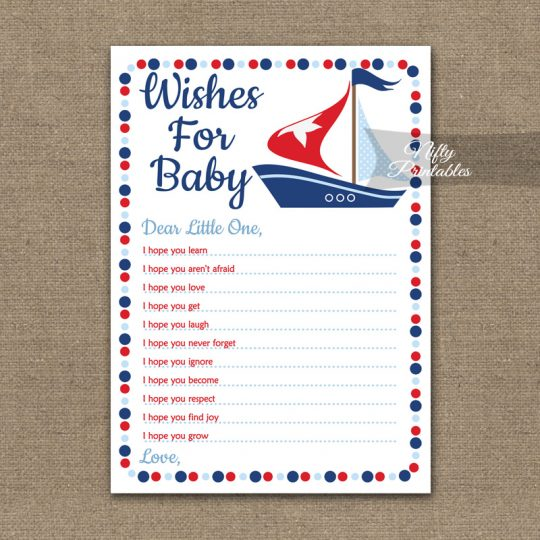 Wishes For Baby Shower Game - Sailboat Nautical