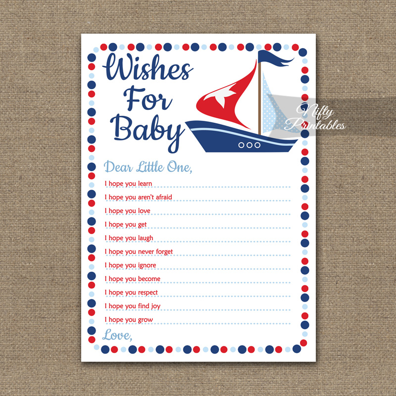 image about Wishes for Baby Printable identify Needs For Kid Shower Activity - Sailboat Nautical