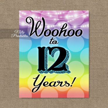 12th Birthday Sign - Rainbow
