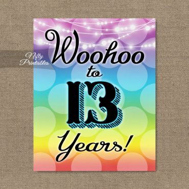 13th Birthday Sign - Rainbow