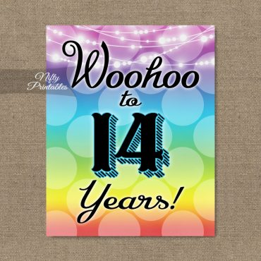 14th Birthday Sign - Rainbow LGBTQ