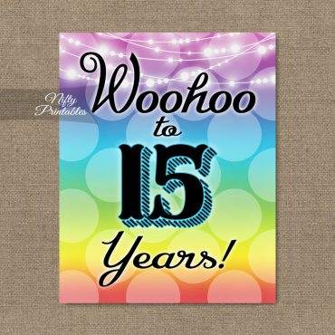 15th Birthday Sign - Rainbow LGBTQ