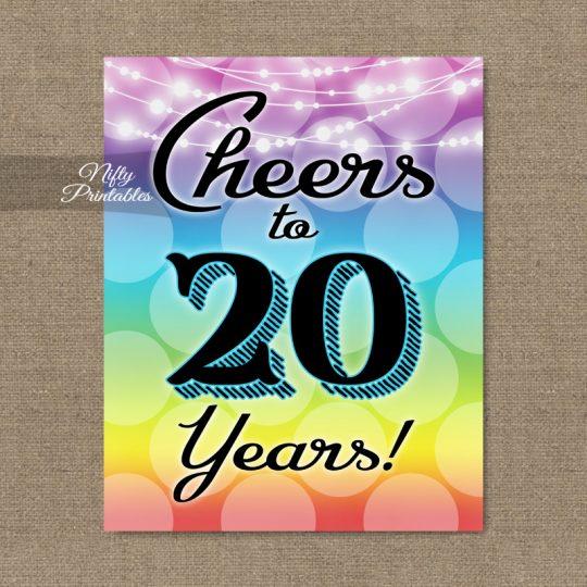 20th Birthday Sign - Rainbow LGBTQ