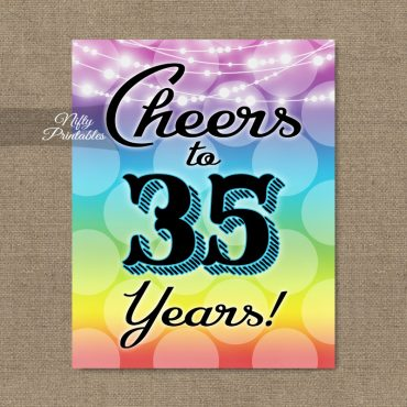35th Birthday Sign - Rainbow LGBTQ