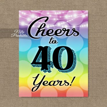40th Birthday Sign - Rainbow LGBQ