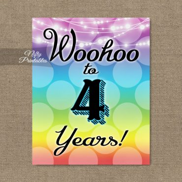 4th Birthday Sign - Rainbow