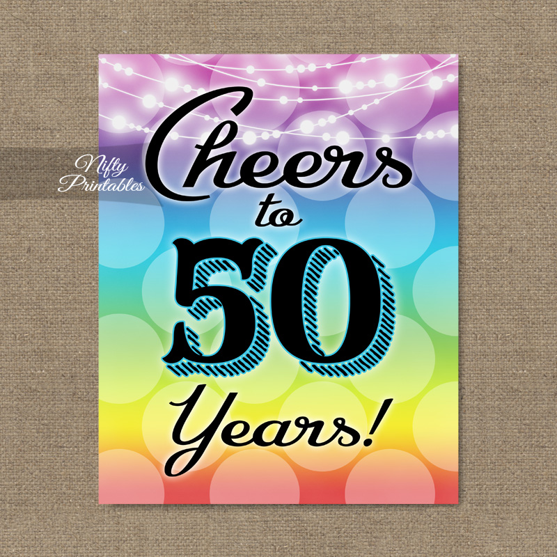 picture relating to Printable 50th Birthday Signs known as 50th Birthday Signal - Rainbow LGBTQ