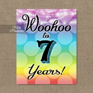 7th Birthday Sign - Rainbow