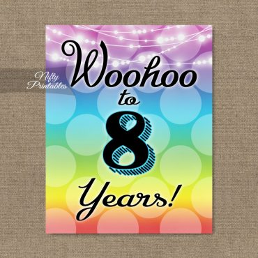 8th Birthday Sign - Rainbow