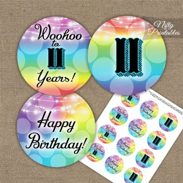 11th Birthday Cupcake Toppers - Rainbow