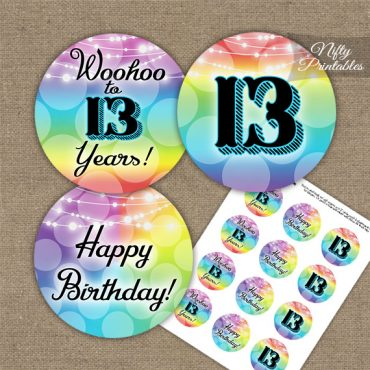 13th Birthday Cupcake Toppers - Rainbow
