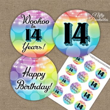 14th Birthday Cupcake Toppers - Rainbow LGBTQ