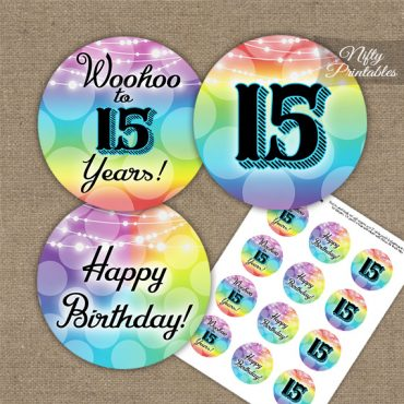 15th Birthday Cupcake Toppers - Rainbow LGBTQ