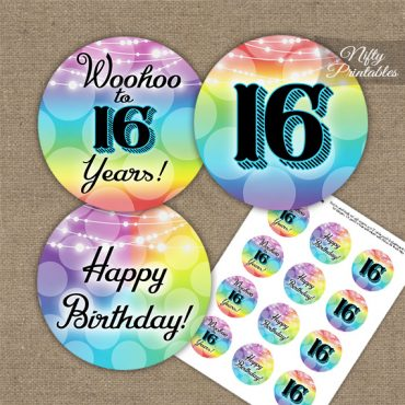 16th Birthday Cupcake Toppers - Rainbow LGBQ