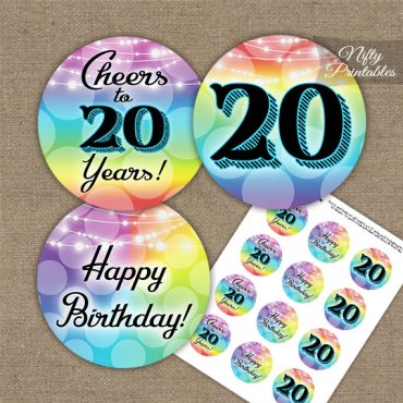 20th Birthday Cupcake Toppers - Rainbow LGBTQ