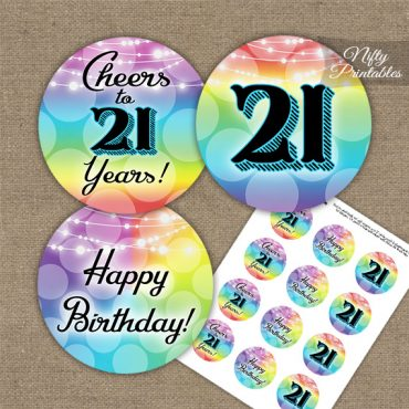 21st Birthday Cupcake Toppers - Rainbow LGBQ