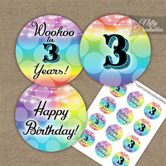 3rd Birthday Cupcake Toppers - Rainbow