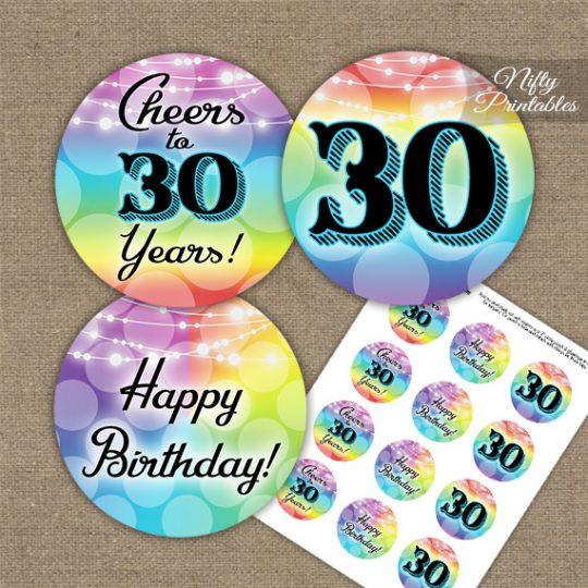 30th Birthday Cupcake Toppers - Rainbow LGBTQ