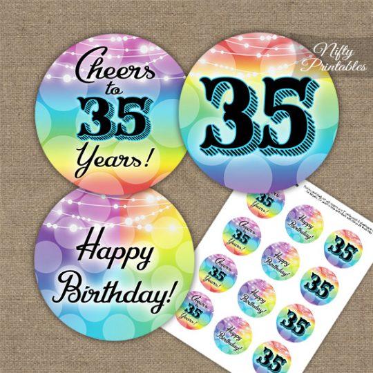 35th Birthday Cupcake Toppers - Rainbow LGBTQ