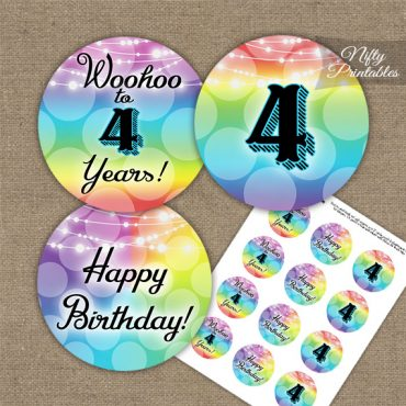 4th Birthday Cupcake Toppers - Rainbow
