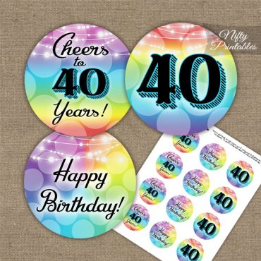 40th Birthday Cupcake Toppers - Rainbow LGBQ