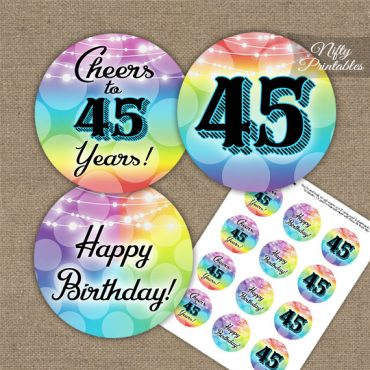 45th Birthday Cupcake Toppers - Rainbow LGBQ