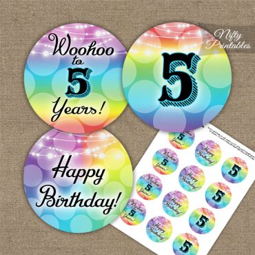 5th Birthday Cupcake Toppers - Rainbow